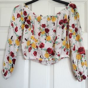 Divided Floral Cropped Blouse